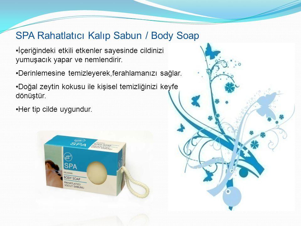 SPA Rahatlatıcı Kalıp Sabun / Body Soap İçeriğindeki etkili etkenler sayesinde cildinizi yumuşacık yapar ve nemlendirir. Derinlemesine temizleyerek,fe