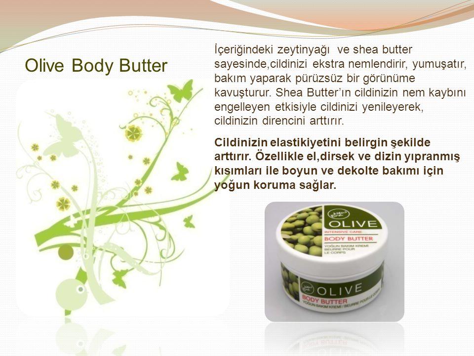 İçeriğindeki zeytinyağı ve shea butter sayesinde,cildinizi ekstra nemlendirir, yumuşatır, bakım yaparak pürüzsüz bir görünüme kavuşturur. Shea Butter'
