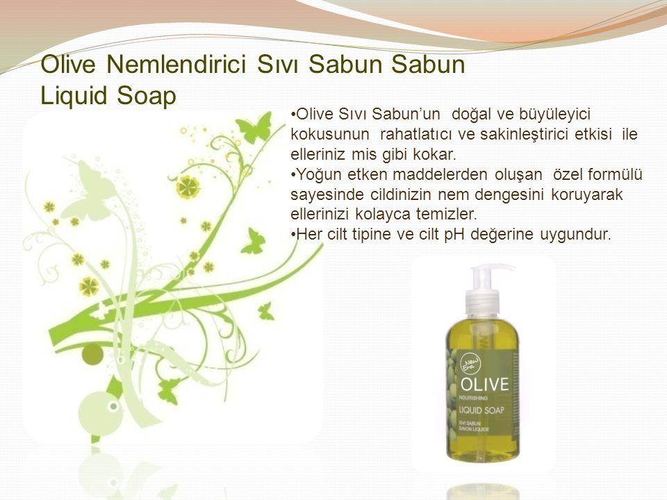 Olive Sıvı Sabun'un doğal ve büyüleyici kokusunun rahatlatıcı ve sakinleştirici etkisi ile elleriniz mis gibi kokar. Yoğun etken maddelerden oluşan öz