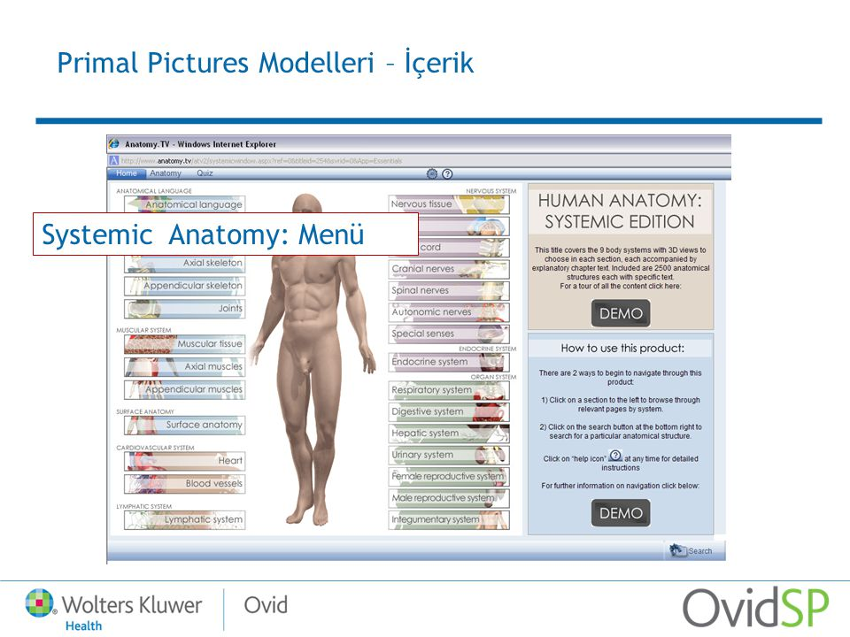 Primal Pictures Modelleri – İçerik Systemic Anatomy: Menü