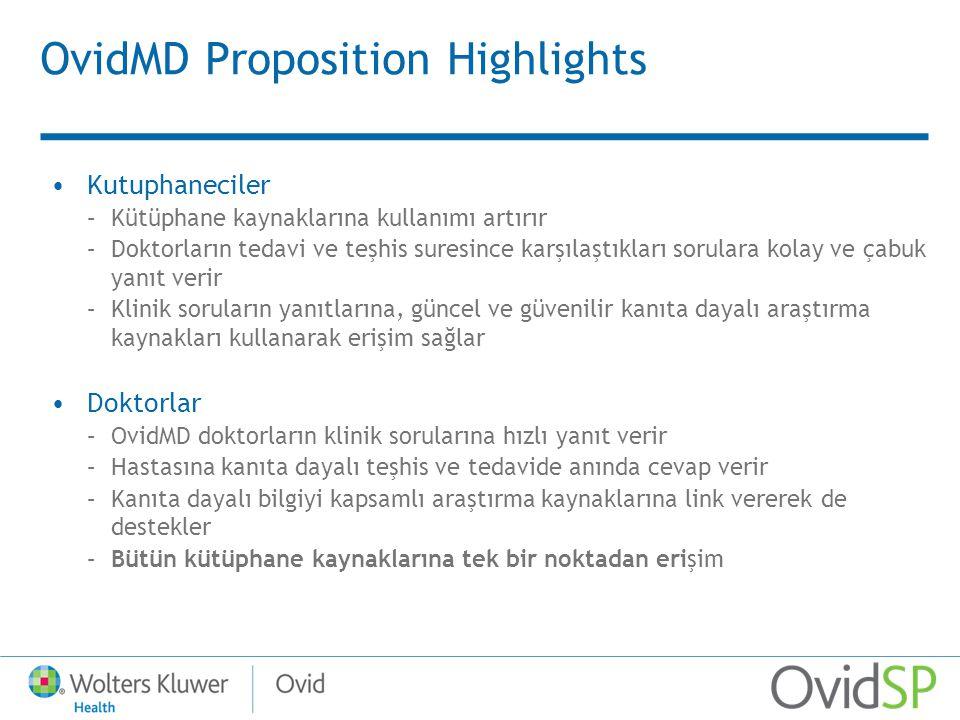OvidMD Proposition Highlights Kutuphaneciler –Kütüphane kaynaklarına kullanımı artırır –Doktorların tedavi ve teşhis suresince karşılaştıkları sorular