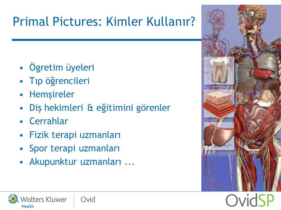 Primal Pictures: Kimler Kullanır? Ögretim üyeleri Tıp öğrencileri Hemşireler Diş hekimleri & eğitimini görenler Cerrahlar Fizik terapi uzmanları Spor