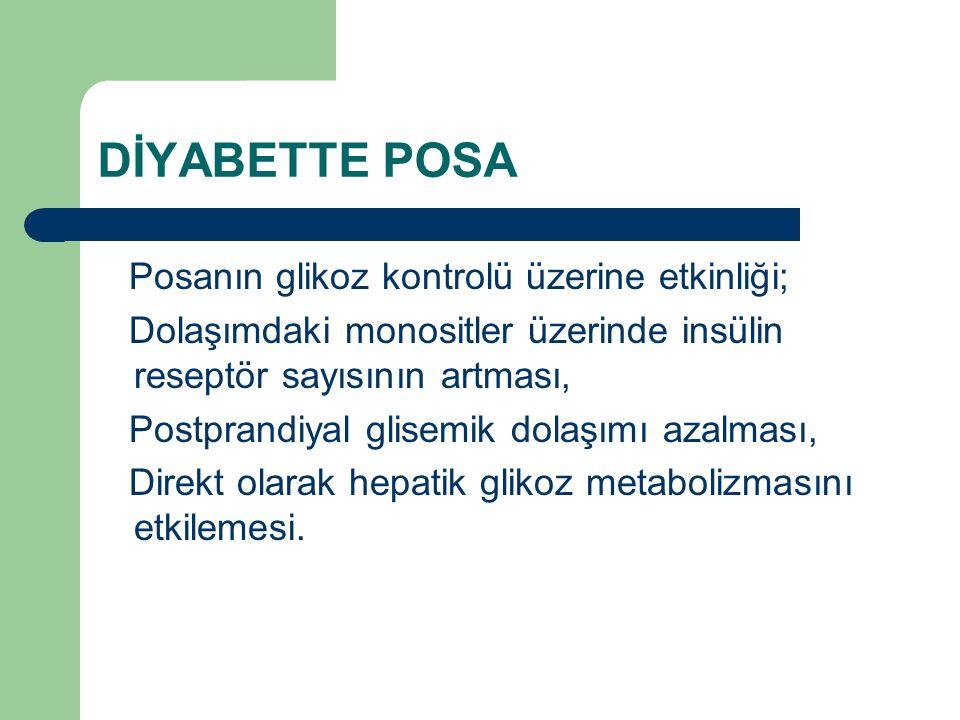 DİYABETTE POSA Posanın glikoz kontrolü üzerine etkinliği; Dolaşımdaki monositler üzerinde insülin reseptör sayısının artması, Postprandiyal glisemik d