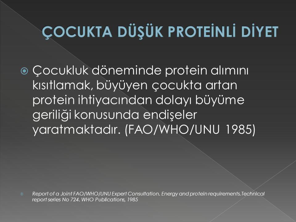  Çocukluk döneminde protein alımını kısıtlamak, büyüyen çocukta artan protein ihtiyacından dolayı büyüme geriliği konusunda endişeler yaratmaktadır.