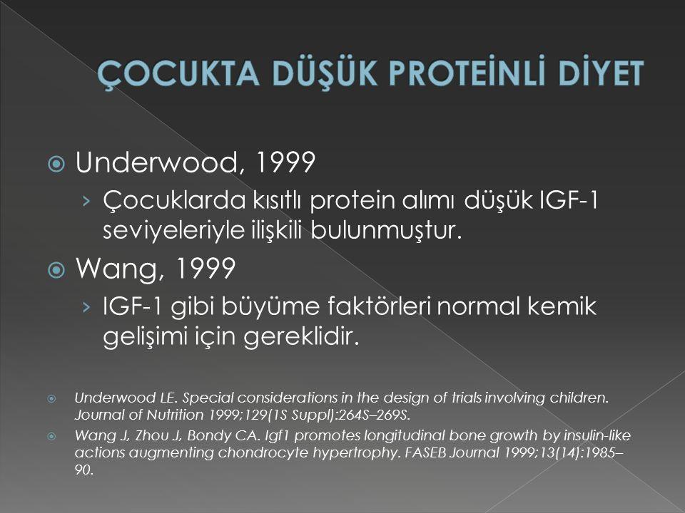  Underwood, 1999 › Çocuklarda kısıtlı protein alımı düşük IGF-1 seviyeleriyle ilişkili bulunmuştur.