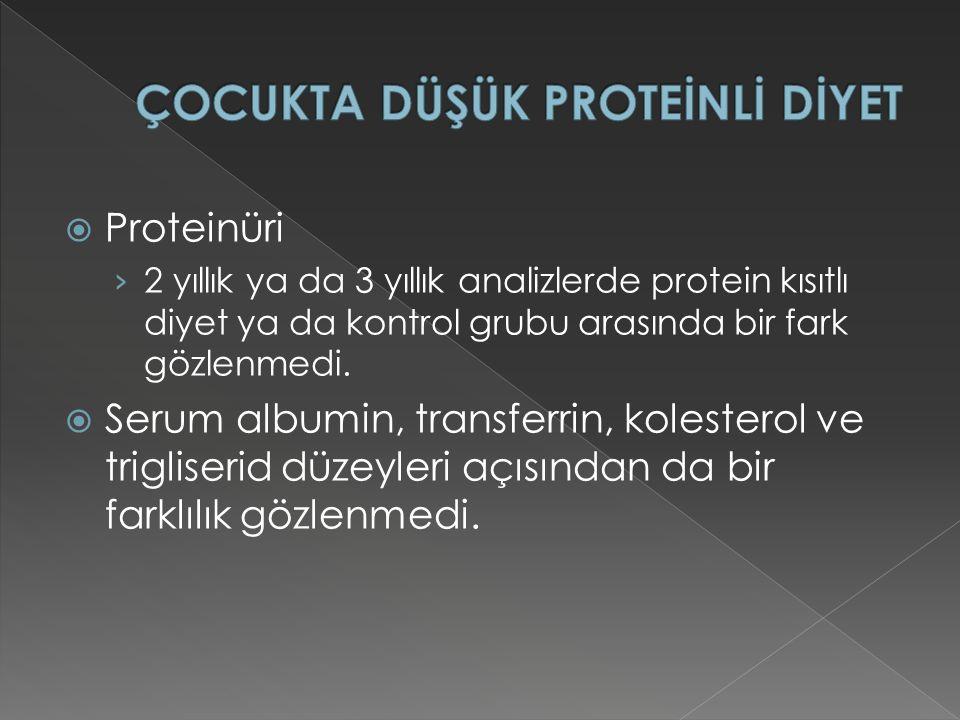  Proteinüri › 2 yıllık ya da 3 yıllık analizlerde protein kısıtlı diyet ya da kontrol grubu arasında bir fark gözlenmedi.