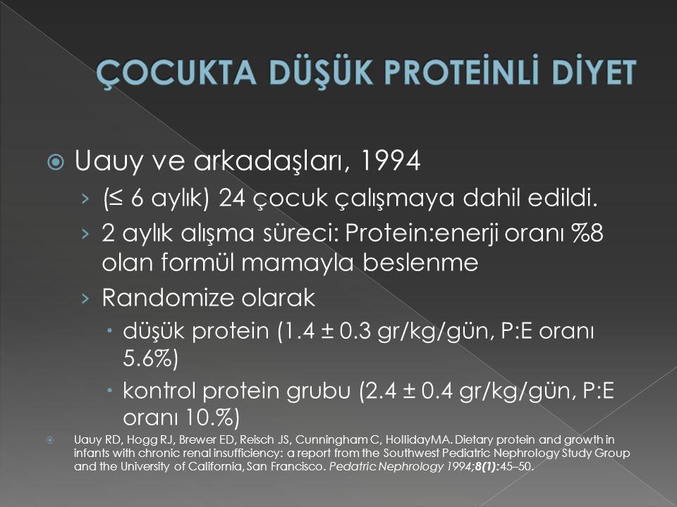  Uauy ve arkadaşları, 1994 › (≤ 6 aylık) 24 çocuk çalışmaya dahil edildi.