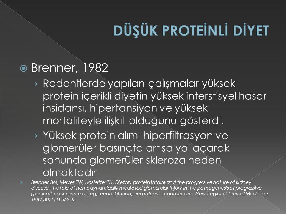  Brenner, 1982 › Rodentlerde yapılan çalışmalar yüksek protein içerikli diyetin yüksek interstisyel hasar insidansı, hipertansiyon ve yüksek mortaliteyle ilişkili olduğunu gösterdi.