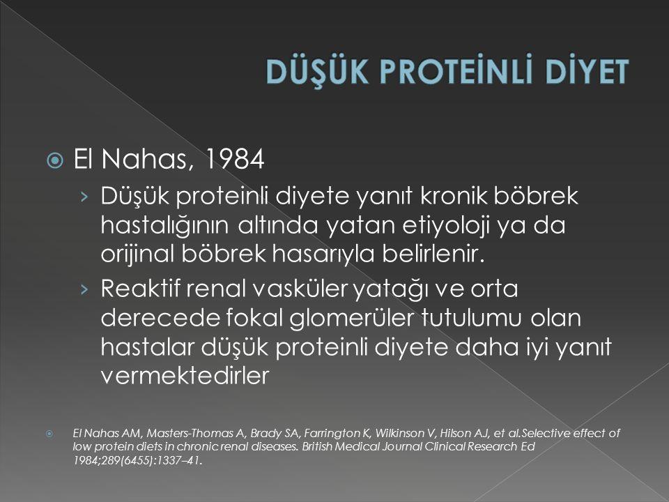  El Nahas, 1984 › Düşük proteinli diyete yanıt kronik böbrek hastalığının altında yatan etiyoloji ya da orijinal böbrek hasarıyla belirlenir.