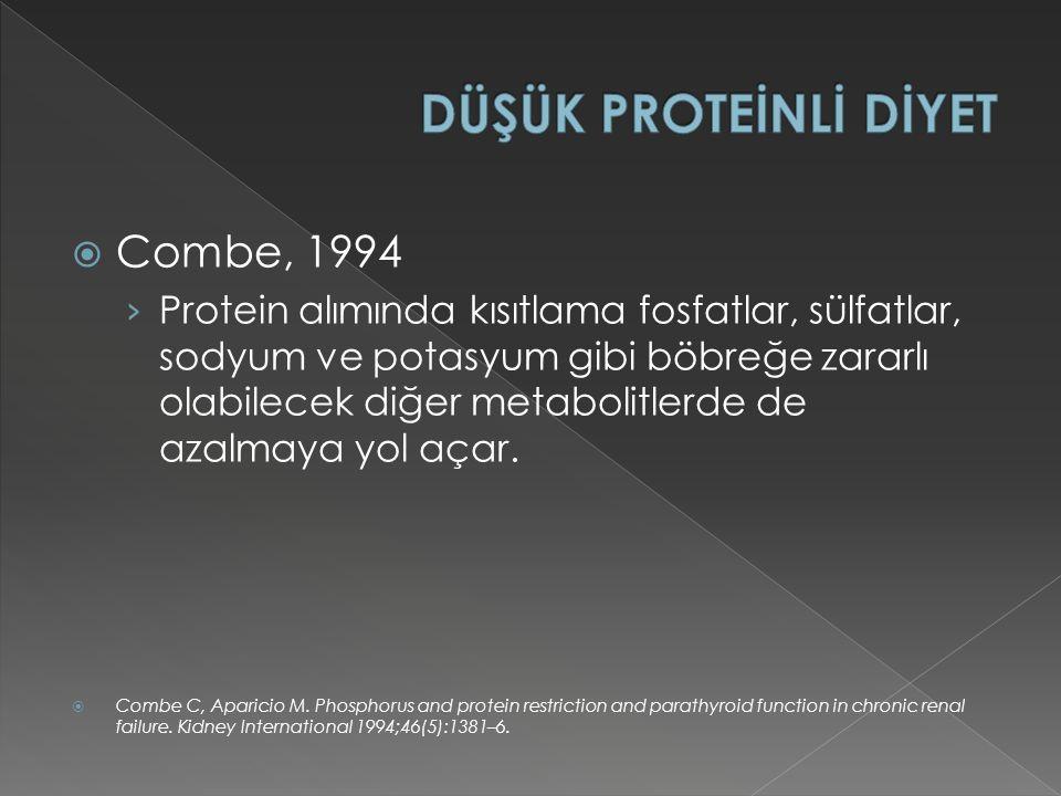  Combe, 1994 › Protein alımında kısıtlama fosfatlar, sülfatlar, sodyum ve potasyum gibi böbreğe zararlı olabilecek diğer metabolitlerde de azalmaya yol açar.