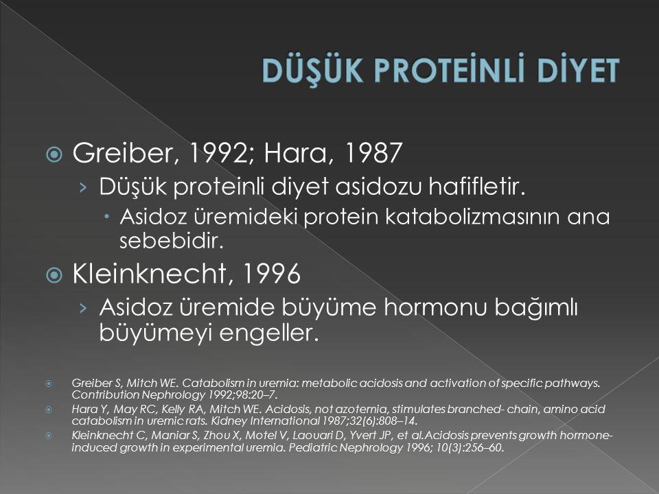  Greiber, 1992; Hara, 1987 › Düşük proteinli diyet asidozu hafifletir.