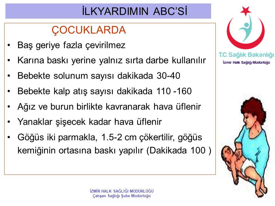 İLKYARDIMIN ABC'Sİ ÇOCUKLARDA Baş geriye fazla çevirilmez Karına baskı yerine yalnız sırta darbe kullanılır Bebekte solunum sayısı dakikada 30-40 Bebe