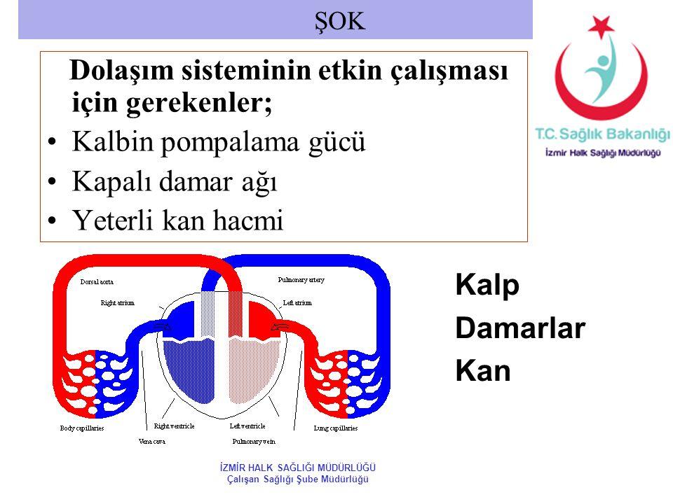 Dolaşım sisteminin etkin çalışması için gerekenler; Kalbin pompalama gücü Kapalı damar ağı Yeterli kan hacmi ŞOK Kalp Damarlar Kan İZMİR HALK SAĞLIĞI