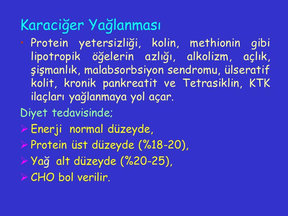 Karaciğer Yağlanması Protein yetersizliği, kolin, methionin gibi lipotropik öğelerin azlığı, alkolizm, açlık, şişmanlık, malabsorbsiyon sendromu, ülse