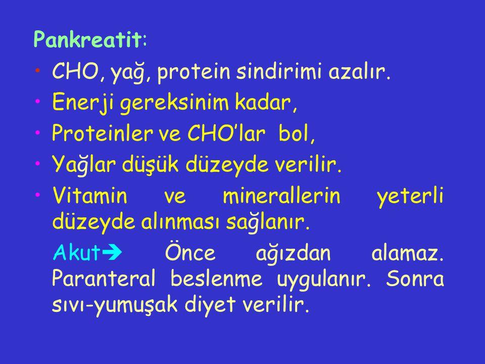 Pankreatit: CHO, yağ, protein sindirimi azalır. Enerji gereksinim kadar, Proteinler ve CHO'lar bol, Yağlar düşük düzeyde verilir. Vitamin ve mineralle