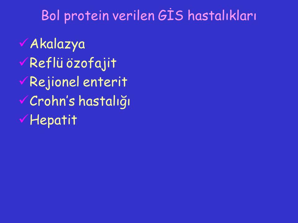 Bol protein verilen GİS hastalıkları Akalazya Reflü özofajit Rejionel enterit Crohn's hastalığı Hepatit