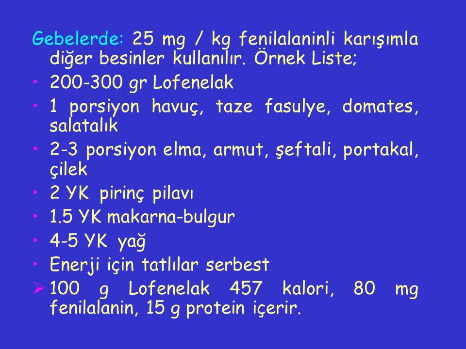 Gebelerde: 25 mg / kg fenilalaninli karışımla diğer besinler kullanılır. Örnek Liste; 200-300 gr Lofenelak 1 porsiyon havuç, taze fasulye, domates, sa