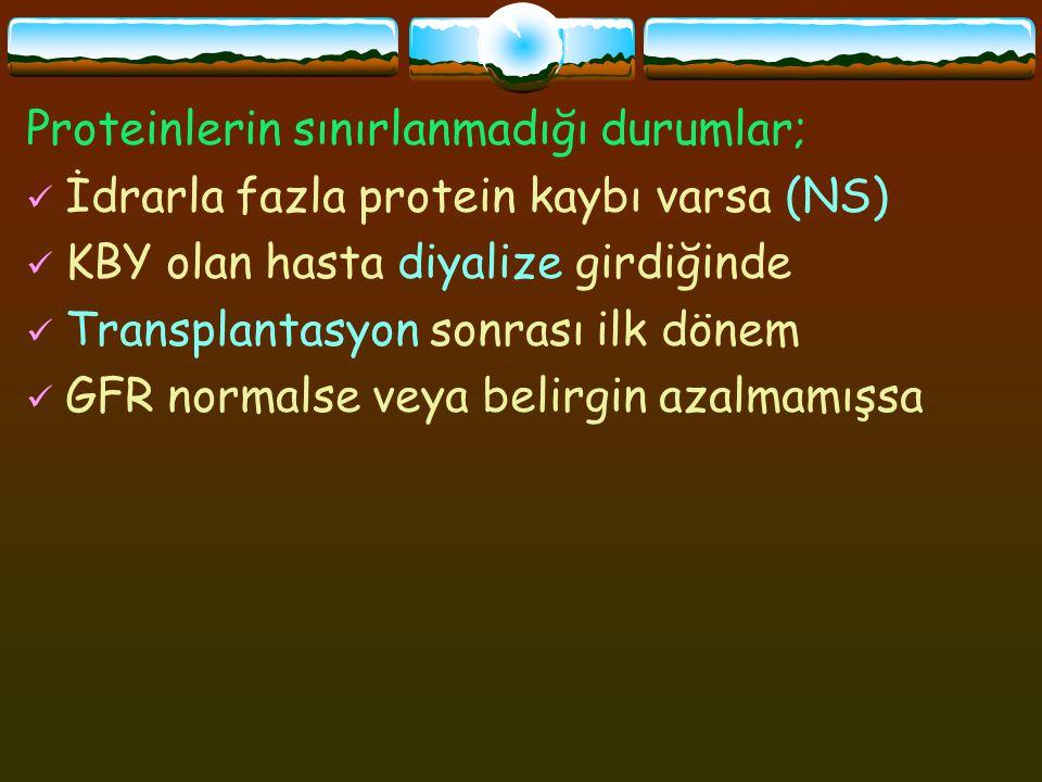 Proteinlerin sınırlanmadığı durumlar; İdrarla fazla protein kaybı varsa (NS) KBY olan hasta diyalize girdiğinde Transplantasyon sonrası ilk dönem GFR normalse veya belirgin azalmamışsa