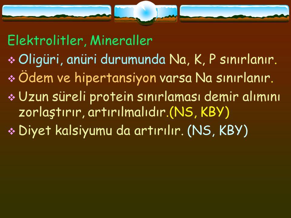 Elektrolitler, Mineraller  Oligüri, anüri durumunda Na, K, P sınırlanır.  Ödem ve hipertansiyon varsa Na sınırlanır.  Uzun süreli protein sınırlama