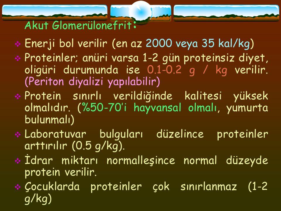 Akut Glomerülonefrit :  Enerji bol verilir (en az 2000 veya 35 kal/kg)  Proteinler; anüri varsa 1-2 gün proteinsiz diyet, oligüri durumunda ise 0.1-0.2 g / kg verilir.