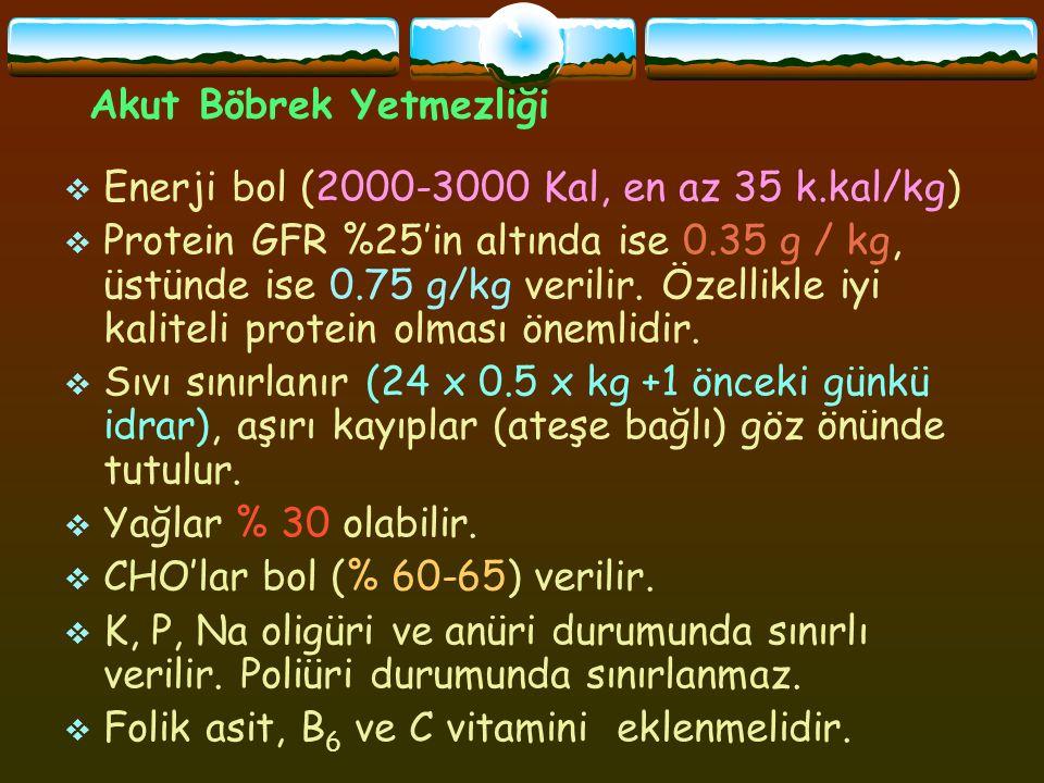 Akut Böbrek Yetmezliği  Enerji bol (2000-3000 Kal, en az 35 k.kal/kg)  Protein GFR %25'in altında ise 0.35 g / kg, üstünde ise 0.75 g/kg verilir.