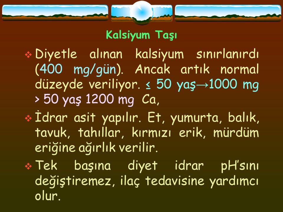 Kalsiyum Taşı  Diyetle alınan kalsiyum sınırlanırdı (400 mg/gün). Ancak artık normal düzeyde veriliyor. ≤ 50 yaş → 1000 mg > 50 yaş 1200 mg Ca,  İdr