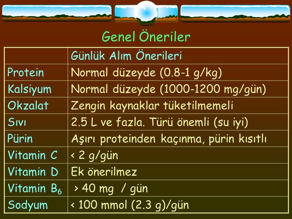 Genel Öneriler Günlük Alım Önerileri ProteinNormal düzeyde (0.8-1 g/kg) KalsiyumNormal düzeyde (1000-1200 mg/gün) OkzalatZengin kaynaklar tüketilmemeli Sıvı2.5 L ve fazla.