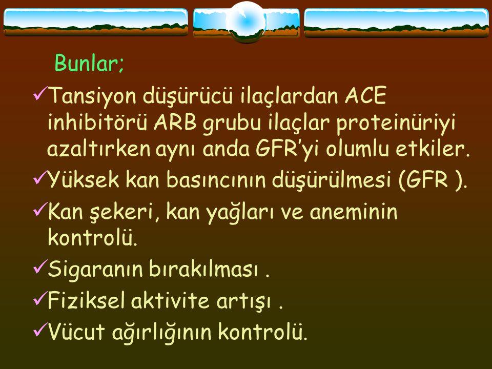 Tansiyon düşürücü ilaçlardan ACE inhibitörü ARB grubu ilaçlar proteinüriyi azaltırken aynı anda GFR'yi olumlu etkiler.