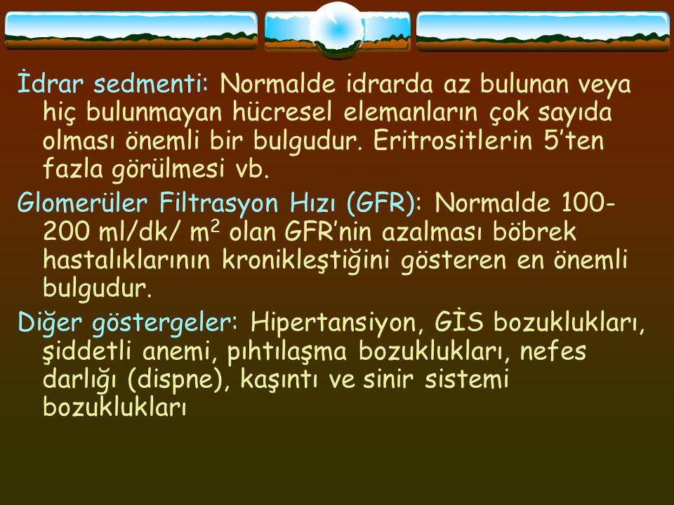 Kronik Böbrek Hastalıklarında Özellikler Ayırdedici özellik GFR'de azalma.
