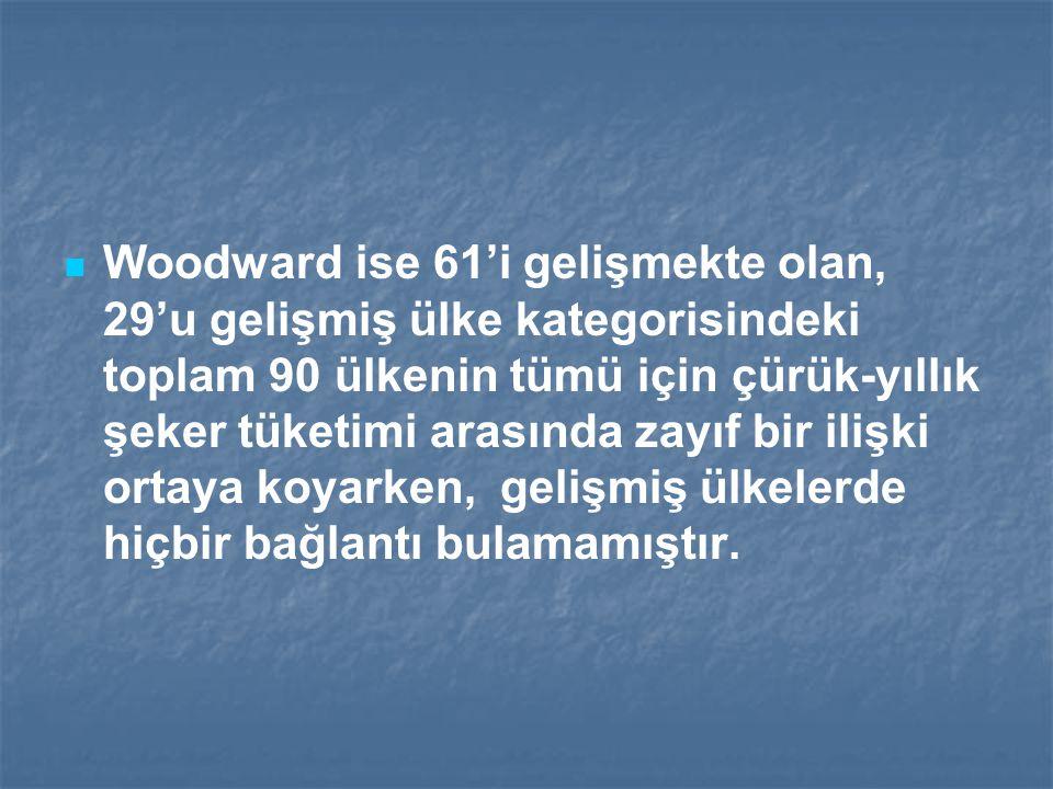Woodward ise 61'i gelişmekte olan, 29'u gelişmiş ülke kategorisindeki toplam 90 ülkenin tümü için çürük-yıllık şeker tüketimi arasında zayıf bir ilişk