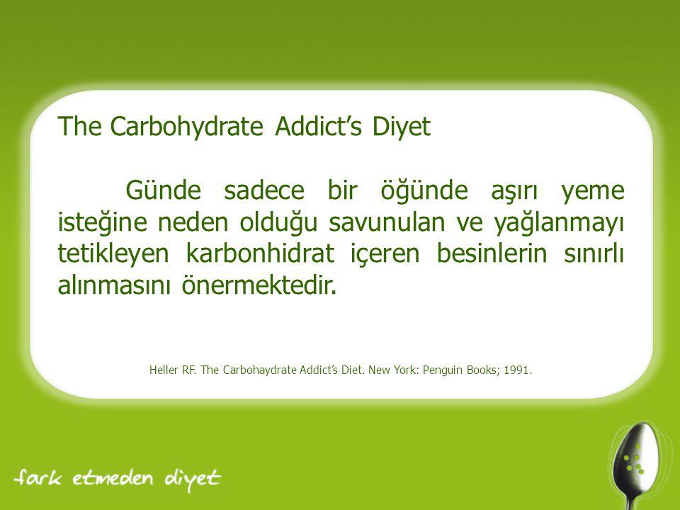 The Carbohydrate Addict's Diyet Günde sadece bir öğünde aşırı yeme isteğine neden olduğu savunulan ve yağlanmayı tetikleyen karbonhidrat içeren besinlerin sınırlı alınmasını önermektedir.