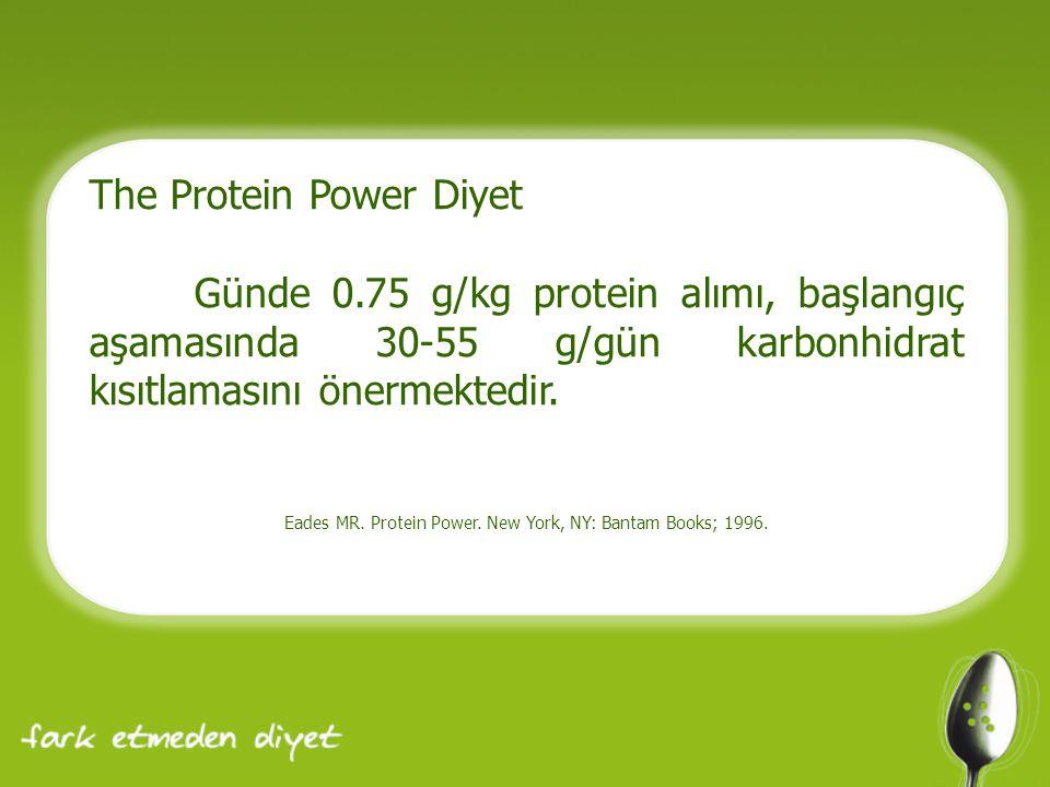 The Protein Power Diyet Günde 0.75 g/kg protein alımı, başlangıç aşamasında 30-55 g/gün karbonhidrat kısıtlamasını önermektedir. Eades MR. Protein Pow