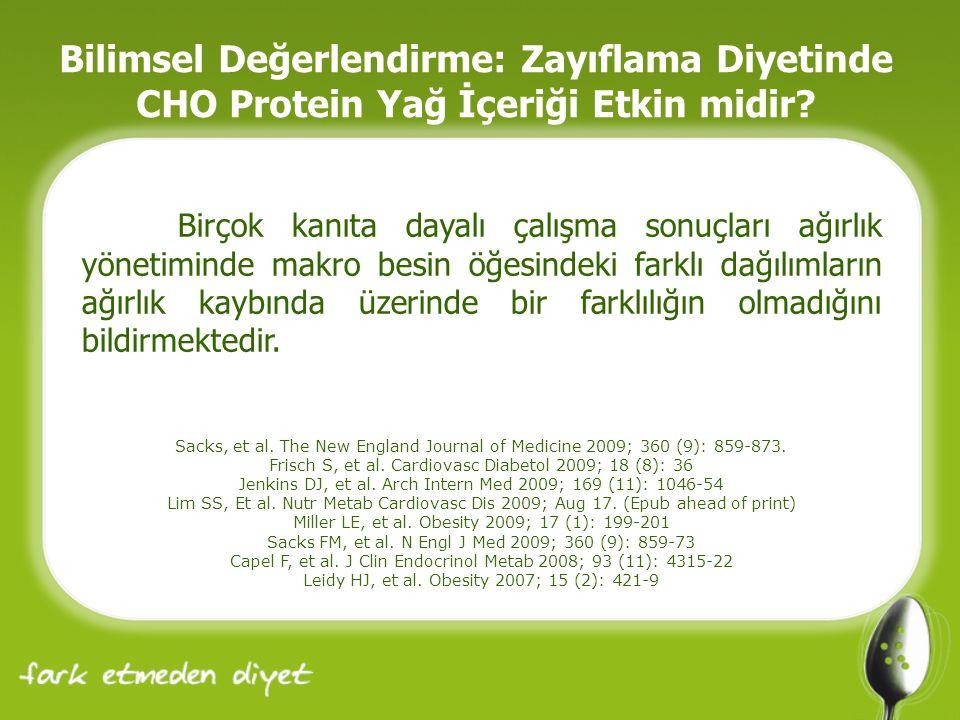 Bilimsel Değerlendirme: Zayıflama Diyetinde CHO Protein Yağ İçeriği Etkin midir.