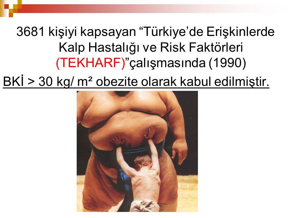 3681 kişiyi kapsayan Türkiye'de Erişkinlerde Kalp Hastalığı ve Risk Faktörleri (TEKHARF) çalışmasında (1990) BKİ > 30 kg/ m² obezite olarak kabul edilmiştir.