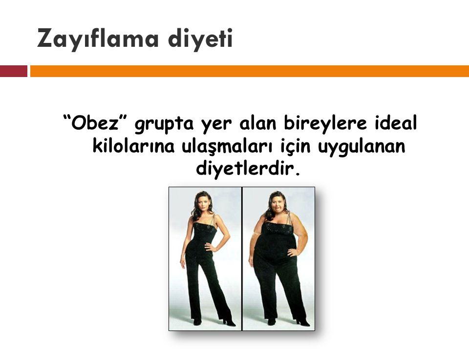 Zayıflama diyeti Obez grupta yer alan bireylere ideal kilolarına ulaşmaları için uygulanan diyetlerdir.