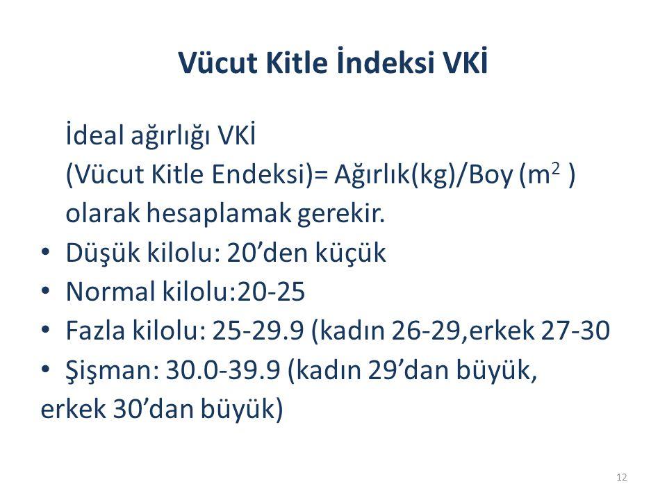 12 Vücut Kitle İndeksi VKİ İdeal ağırlığı VKİ (Vücut Kitle Endeksi)= Ağırlık(kg)/Boy (m 2 ) olarak hesaplamak gerekir. Düşük kilolu: 20'den küçük Norm