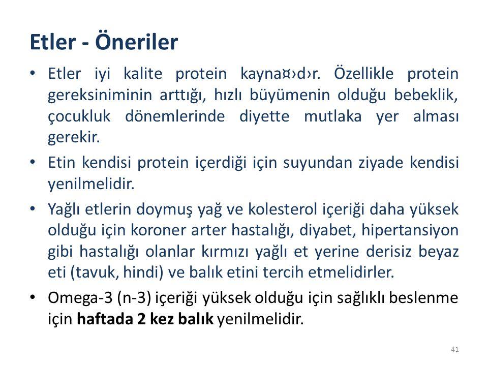 Etler - Öneriler Etler iyi kalite protein kayna¤›d›r. Özellikle protein gereksiniminin arttığı, hızlı büyümenin olduğu bebeklik, çocukluk dönemlerinde