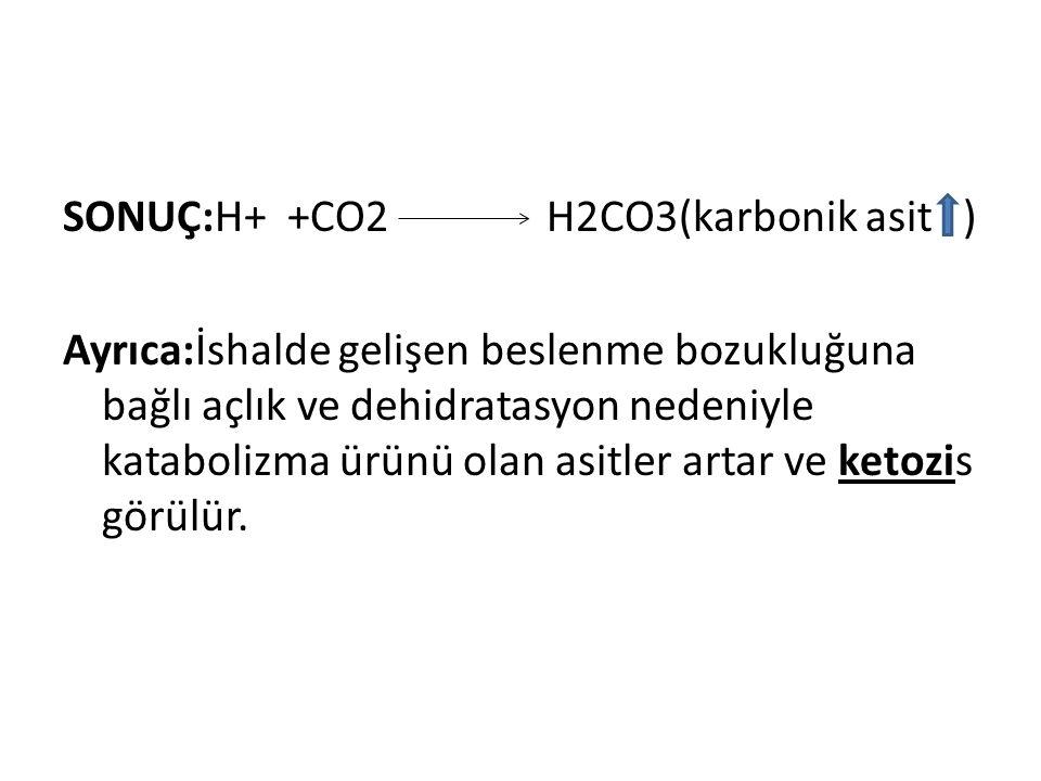 SONUÇ:H+ +CO2 H2CO3(karbonik asit ) Ayrıca:İshalde gelişen beslenme bozukluğuna bağlı açlık ve dehidratasyon nedeniyle katabolizma ürünü olan asitler