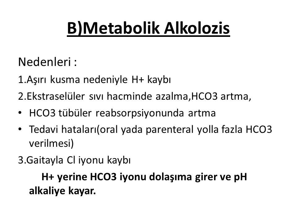 B)Metabolik Alkolozis Nedenleri : 1.Aşırı kusma nedeniyle H+ kaybı 2.Ekstraselüler sıvı hacminde azalma,HCO3 artma, HCO3 tübüler reabsorpsiyonunda art