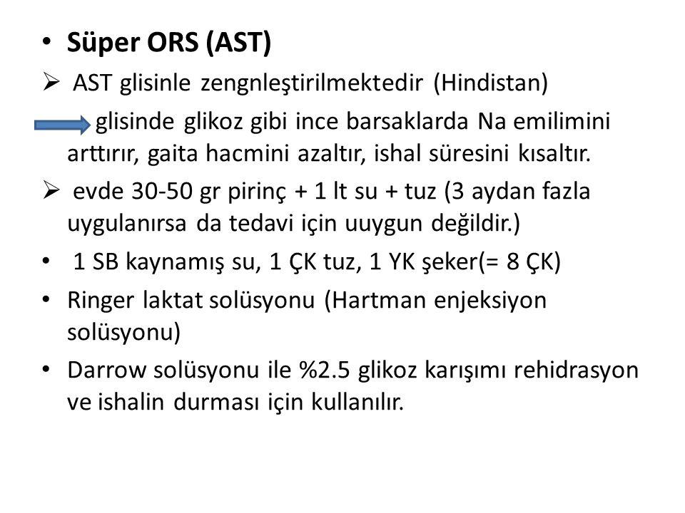 Süper ORS (AST)  AST glisinle zengnleştirilmektedir (Hindistan) glisinde glikoz gibi ince barsaklarda Na emilimini arttırır, gaita hacmini azaltır, i