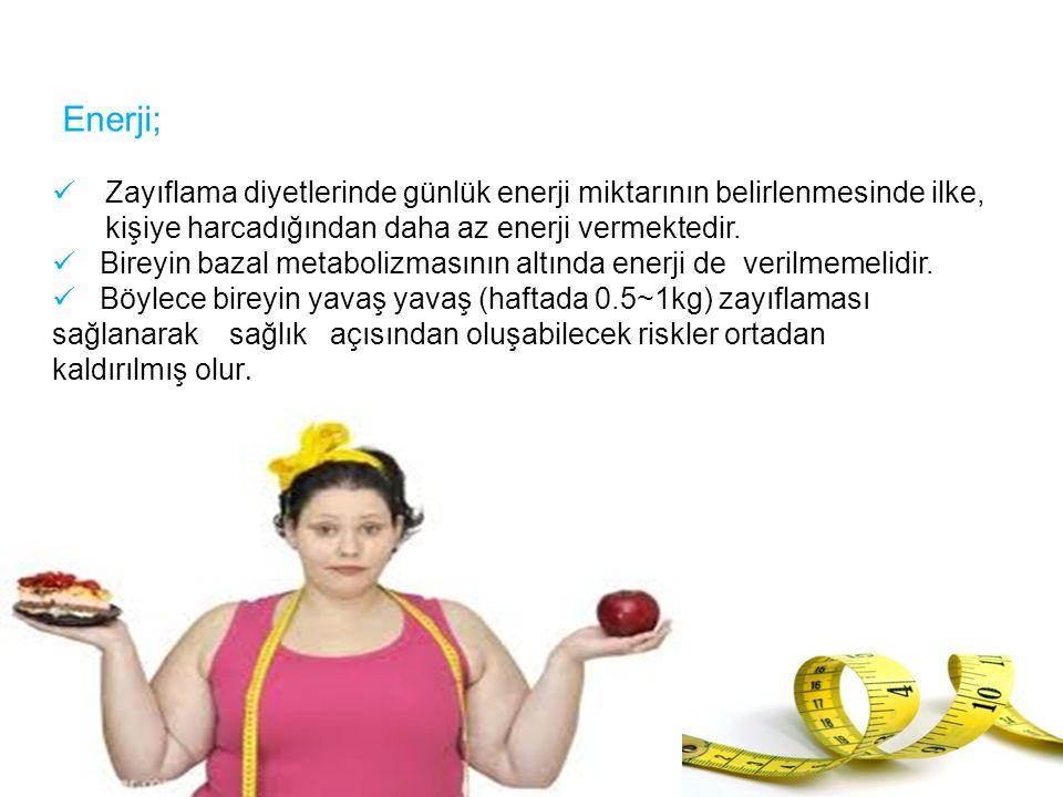 Enerji; Zayıflama diyetlerinde günlük enerji miktarının belirlenmesinde ilke, kişiye harcadığından daha az enerji vermektedir. Bireyin bazal metaboliz
