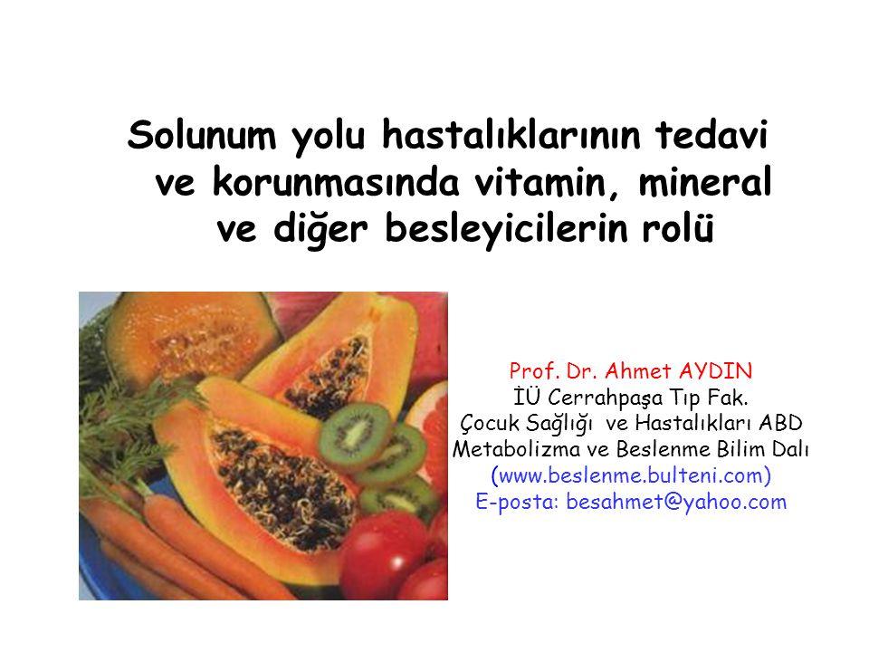 C vitamini-astım Yapılan çeşitli araştırmalara göre C vitamini kısa vadede (1-5) astım nöbetlerini hafifletmektedir.