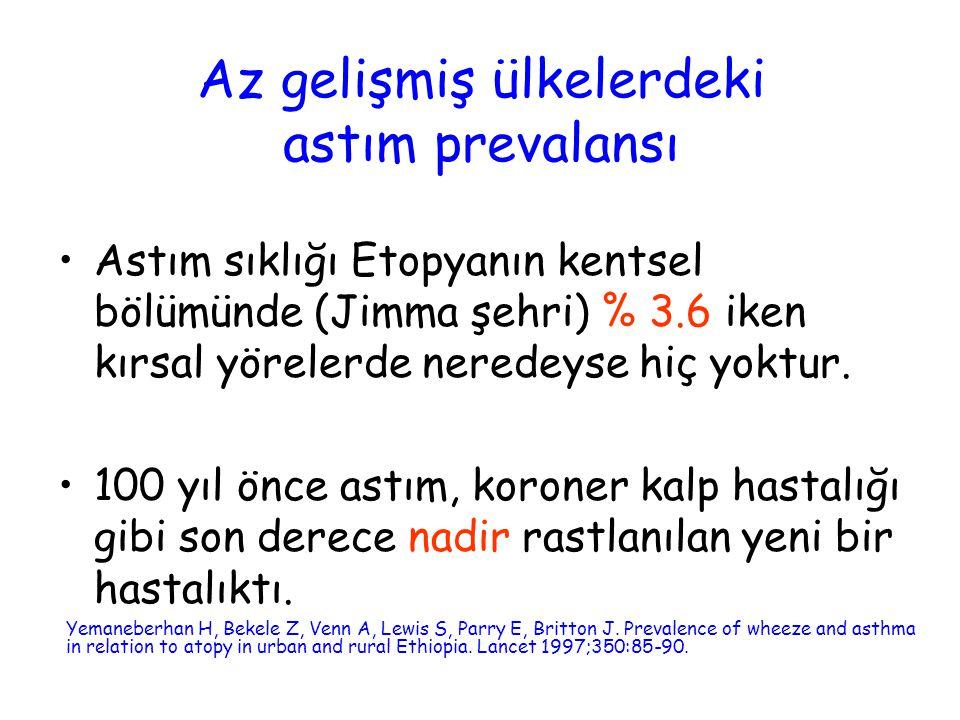 Ankara'da alerjik hastalıklar prevalansı YılAstımHışıltıSaman nezlesi Egzema 1992 1997 2002 %8.3 %9.8 %6.4 %11.9 %13.3 %6.4 % 15.4 % 14.1 % 7.2 %4 % 4.3 % 1.8 Demir AU, Karakaya G, Bozkurt B, Sekerel BE, Kalyoncu AF.