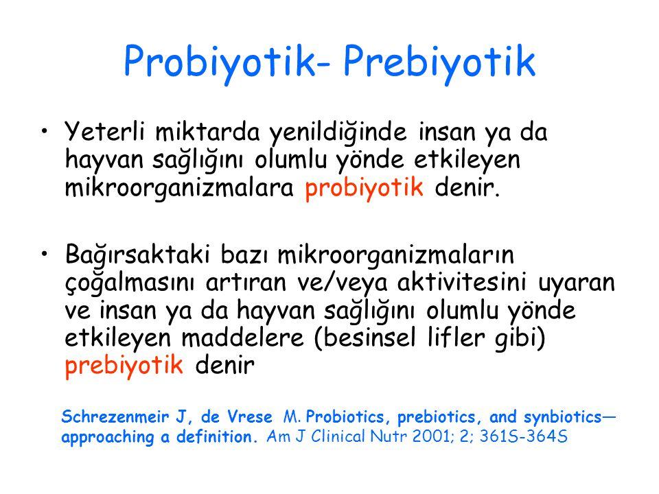 Probiyotik- Prebiyotik Yeterli miktarda yenildiğinde insan ya da hayvan sağlığını olumlu yönde etkileyen mikroorganizmalara probiyotik denir.