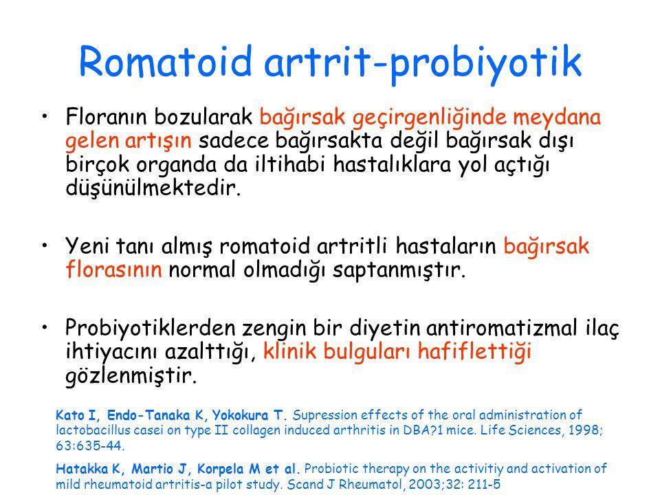 Romatoid artrit-probiyotik Floranın bozularak bağırsak geçirgenliğinde meydana gelen artışın sadece bağırsakta değil bağırsak dışı birçok organda da iltihabi hastalıklara yol açtığı düşünülmektedir.