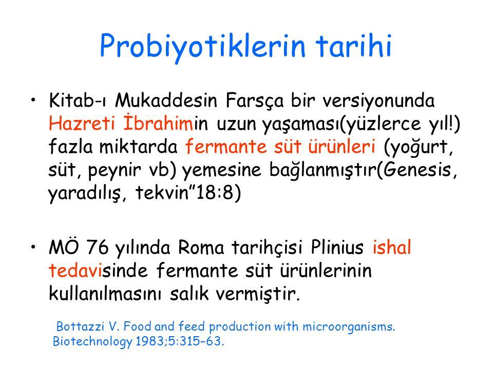 Probiyotiklerin tarihi Kitab-ı Mukaddesin Farsça bir versiyonunda Hazreti İbrahimin uzun yaşaması(yüzlerce yıl!) fazla miktarda fermante süt ürünleri (yoğurt, süt, peynir vb) yemesine bağlanmıştır(Genesis, yaradılış, tekvin 18:8) MÖ 76 yılında Roma tarihçisi Plinius ishal tedavisinde fermante süt ürünlerinin kullanılmasını salık vermiştir.
