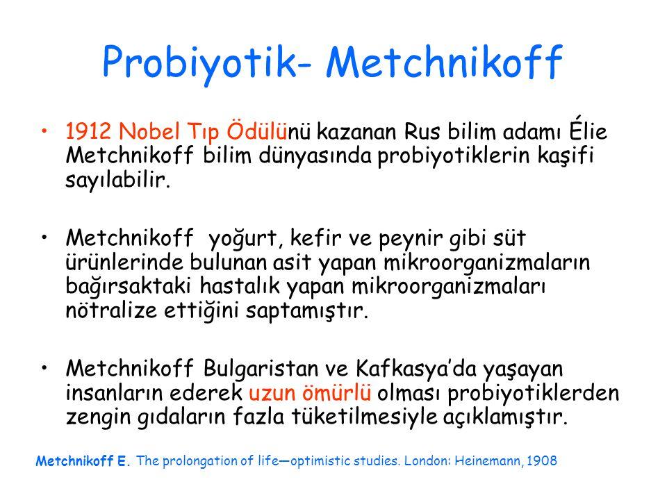 Probiyotik- Metchnikoff 1912 Nobel Tıp Ödülünü kazanan Rus bilim adamı Élie Metchnikoff bilim dünyasında probiyotiklerin kaşifi sayılabilir.
