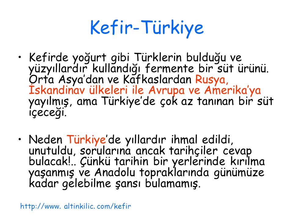 Kefir-Türkiye Kefirde yoğurt gibi Türklerin bulduğu ve yüzyıllardır kullandığı fermente bir süt ürünü. Orta Asya'dan ve Kafkaslardan Rusya, İskandinav