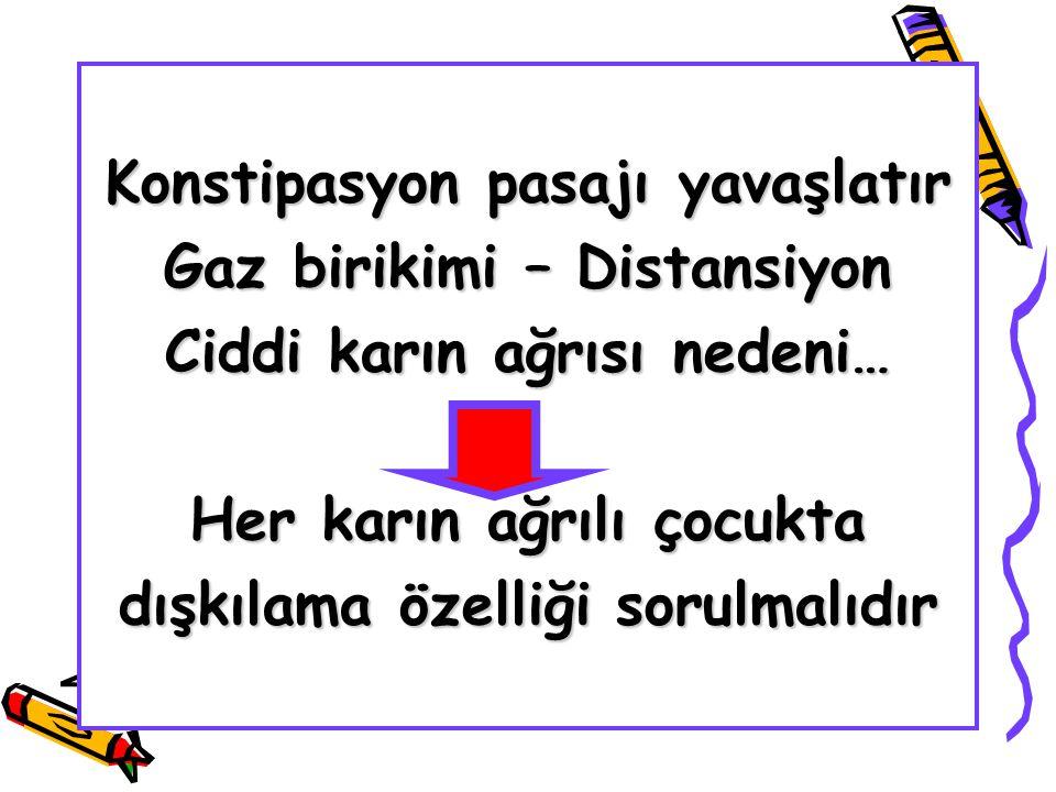 Konstipasyon pasajı yavaşlatır Gaz birikimi – Distansiyon Ciddi karın ağrısı nedeni… Her karın ağrılı çocukta dışkılama özelliği sorulmalıdır