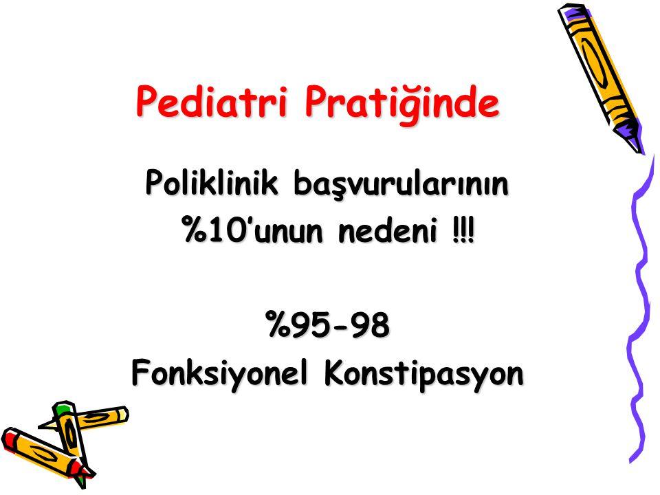 Pediatri Pratiğinde Poliklinik başvurularının %10'unun nedeni !!! %95-98 Fonksiyonel Konstipasyon